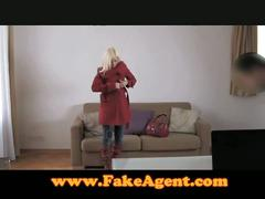 Pretty blonde fucks fake agent