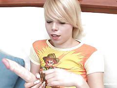 Blonde thin bitch masturbating with her dildo