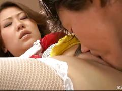 Ai yuumi has her pussy eaten by a man in tiger striped undies
