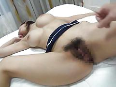 Busty japanese babe gets hairy pussy fingered