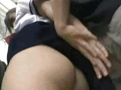Innocent asian girl gives a blowjob on a train