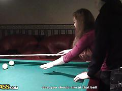 Slut leaves the billiard cue for a hard dick