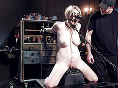 spanking, torture, domination, chained, breath play, blonde babe, clothespins, device bondage, on leash, device bondage, kink, winnie rider