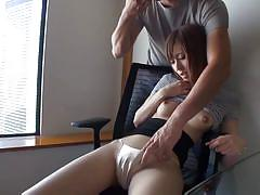 Asian shy girl gets her nipples squeezed and pussy rubbed