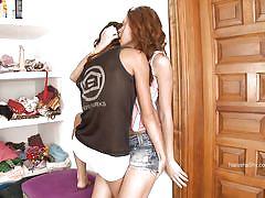 Brunette beauties making horny lesbian love