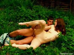 Hot redhead babe enjoying outdoor hard pounding