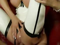 British slut michelle gets fucked in white latex stockings