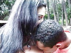 Cute shemale gives head outdoors