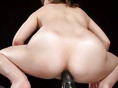 Big dildo for her japanese ass hole