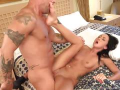 Hot sabrina banks strips off her panties and gives a footjob