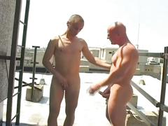 Hot bald studs suck and bareback fuck on roof
