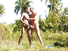 Blonde gay fucking a beauty male outdoors