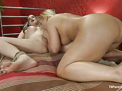 German milf sucking the cock of a busty shemale