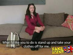 Fakeagentuk pert round ass spanked and fucked on casting couch