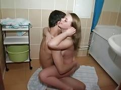 Horny teen couple awesome bathroom fuck