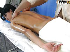 Superb oiled booty massaged