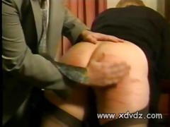 Bad boss punishes his blonde secretary spanking and...