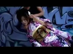 Beautiful kimono dressed japanes girl's blowjob - uncensored