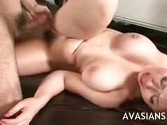 Cute asian with big tits roughly fucked on the floor