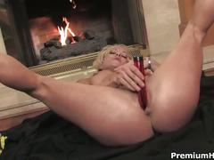 Blonde muscled mom denise toys her pussy