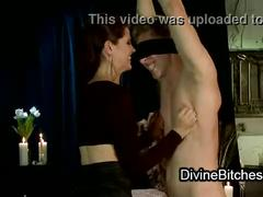 Tall brunette fucks tied guy with dildo gag on his face