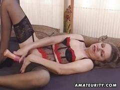 Mature amateur wife toys her ass and gets anal fuck