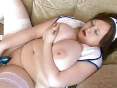 Fat bbw gf showing her big tits and playing with her pussy