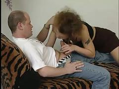 Milf grinds and deep throats a cock