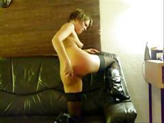 Mature sub spanks her ass hard
