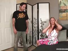Over40-busty milf jerks off her messy step-son
