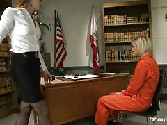 Shemale warden fucking a blonde inmate in the mouth