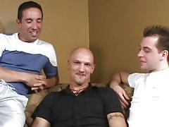 Bald gay between two horny men