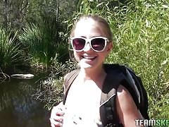 milf, blonde, outdoor, blowjob, from behind, nature, pov, sunglasses, hiking, casi james, pov life, paper street cash