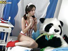 teen, russian, nurse, uniform, slim, costume, roleplay, black hair, panda, nene, panda fuck, wtf bucks