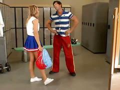 Gorgeous flexible cheerleader fucks her coach