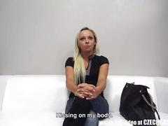 Wonderful czech blonde masturbates to anal with huge dildo