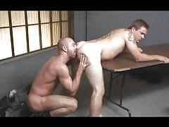 Ass licked and fucked by a big bald gay
