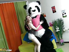 small tits, teen, russian, costume, dancing, brunette, undressing, pony tails, panda, maribel x, panda fuck, wtf bucks
