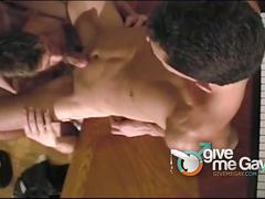 Music loving twinks fucking threesome