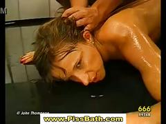Piss drinking sluts get goldenshower and suck cocks in gangbang