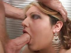 Small titted chubby blonde gets fucked with facial
