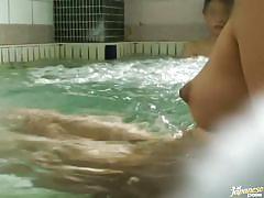 Japanese girls enjoying a nice relaxing bath