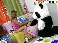 teen, russian, slim, costume, brunette, twister, undressing, sucking dildo, on knees, panda, tammi, panda fuck, wtf bucks