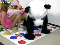 Panda shows his chick a new game