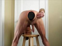 Anus and ass stretching giant black butt plug