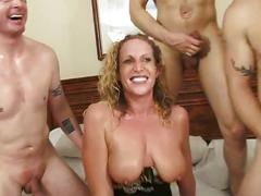 Busty blonde gets private gangbang