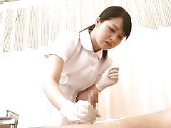 Shy japanese nurse handles a dick