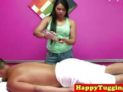 Amateur asian masseuse amazing blowjob and tugjob