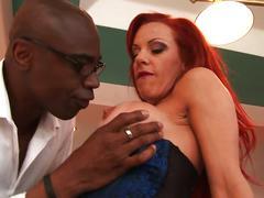 Redhead meets big black cock