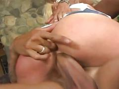 Sweet blonde takes two big cock